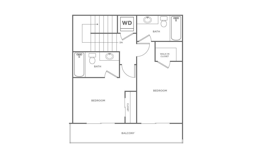 The Mendocino - 2 bedroom floorplan layout with 2.5 baths and 981 square feet. (Floor 2)