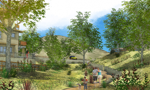 rendering of the outside of the property showing the nearby nature and walking opportunities